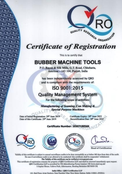 BMT ISO Quality Control Certificate